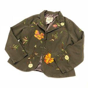 🐶 Sugar Lips green embroidered flowers blazer L